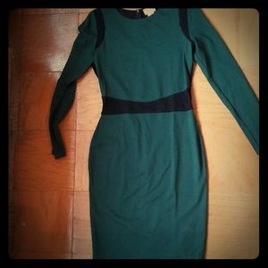 NWOT Green fitted dress with lace detail